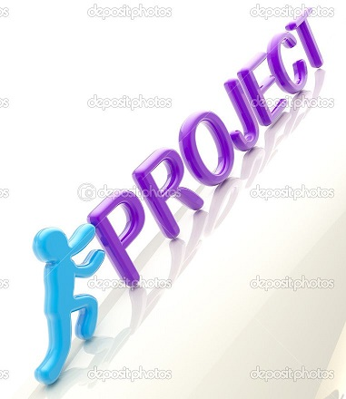 """Human figure pushing the word """"project"""" uphill"""